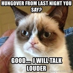 Tard's cat - Hungover from last night you say? GOOD....  i will talk louder