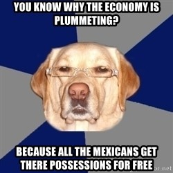 Racist Dog - you know why the economy is plummeting? because all the mexicans get there possessions for free