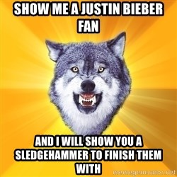 Courage Wolf - show me a justin bieber fan and i will show you a sledgehammer to finish them with