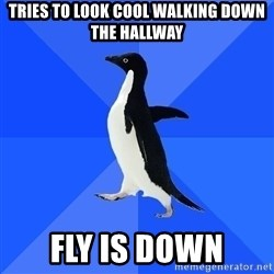 Socially Awkward Penguin - tries to look cool walking down the hallway fly is down