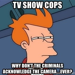 Futurama Fry - tv show cops why don't the criminals ACKNOWLEDGE the CAMERA....ever?