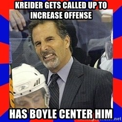 Torts Logic - kreider gets called up to increase offense has boyle center him