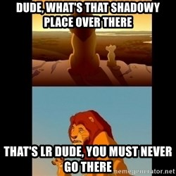 Lion King Shadowy Place - dude, what's that shadowy place over there that's lr dude, you must never go there
