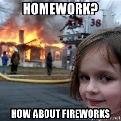 Disaster Girl - Homework?  HOw about fireworks