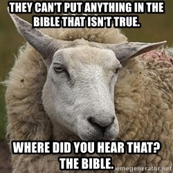 True_Christian - THEY CAN'T PUT ANYTHING IN THE BIBLE THAT ISN'T TRUE. wHERE DID YOU HEAR THAT?  tHE BIBLE.