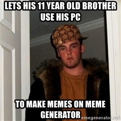 Scumbag Steve - lets his 11 year old brother use his pc to make memes on meme generator