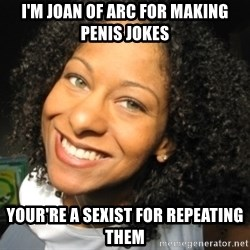 Adria Richards - I'm joan of arc for making penis jokes your're a sexist for repeating them
