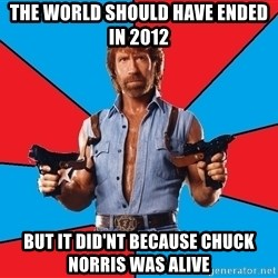 Chuck Norris  - the world should have ended in 2012 but it did'nt because chuck norris was alive