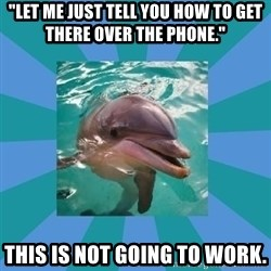 "Dyscalculic Dolphin - ""let me just tell you how to get there over the phone."" this is not going to work."