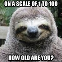 Sexual Sloth - ON A SCALE OF 1 TO 100 HOW OLD ARE YOU?