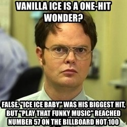 """Dwight Schrute - Vanilla Ice is a one-hit wonder? False. """"Ice Ice Baby"""" was his biggest hit, but """"Play That Funky Music"""" reached number 57 on the Billboard Hot 100"""