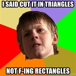Angry School Boy - i said cut it in triangles not f-ing rectangles