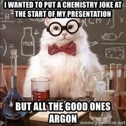 Chemistry Cat - i wanted to put a chemistry joke at the start of my presentation but all the good ones argon