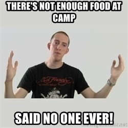 Indie Filmmaker - THERE'S NOT ENOUGH FOOD AT CAMP SAID NO ONE EVER!