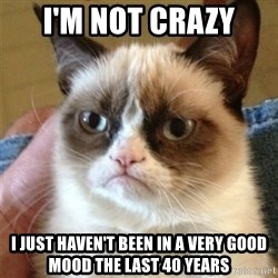 Grumpy Cat  - I'm not crazy I just haven't been in a very good mood the last 40 years