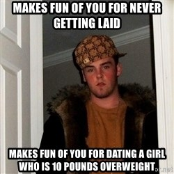 Scumbag Steve - Makes fun of you for never getting laid makes fun of you for dating a girl who is 10 pounds overweight