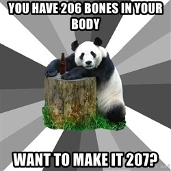 Pickup Line Panda - you have 206 bones in your body want to make it 207?