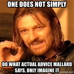 One Does Not Simply - ONE DOES NOT SIMPLY DO WHAT ACTUAL ADVICE MALLARD SAYS, ONLY IMAGINE IT