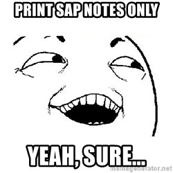 Yeah sure - print SAP notes only yeah, sure...