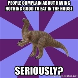 IBS Iguanadon - People complain about having nothing good to eat in the house seriously?