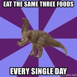 IBS Iguanadon - eat the same three foods every single day