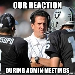 Knapped  - our reaction during admin meetings