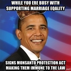 Scumbag Obama - While you ere busy with Supporting marriage eqality Signs monsanto Protection act making them immune to the law