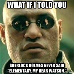 "What If I Told You - What if I told you Sherlock Holmes never said ""Elementary, my dear Watson."""