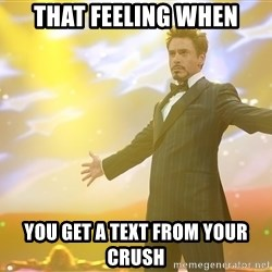tony stark- that feeling when - That feeling when you get a text from your crush