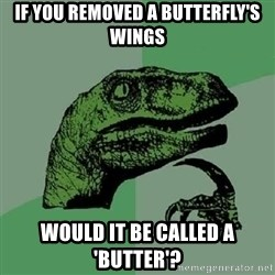 Philosoraptor - If you removed a butterfly's wings would it be called a 'butter'?