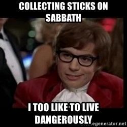 live dangerously austin - collecting sticks on sabbath I too like to live dangerously