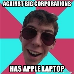 Hypocrite Gordon - against big corporations has apple laptop