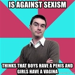 Privilege Denying Dude - is against sexism thinks that boys have a penis and girls have a vagina