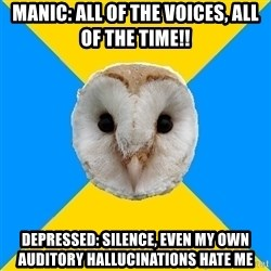 Bipolar Owl - Manic: All of the voices, all of the time!! Depressed: Silence, even my own auditory hallucinations hate me