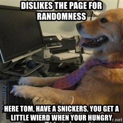 I have no idea what I'm doing - Dog with Tie - dislikes the page for randomness here tom, have a snickers, you get a little wierd when your hungry