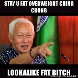 ALFREDO LIM MEME - STAY U FAT OVERWEIGHT CHING CHONG LOOKALIKE FAT BITCH