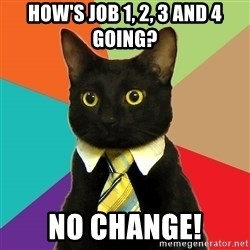Business Cat - HOW'S JOB 1, 2, 3 AND 4 GOING? NO CHANGE!