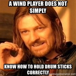 One Does Not Simply - a winD player does not simply know how to hold drum sticks correctly