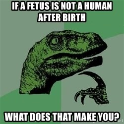 Philosoraptor - if a fetus is not a human after birth what does that make you?