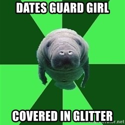 Marching Band Manatee - dates Guard Girl covered in glitter