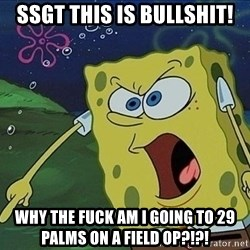Screaming Spongebob - SSgt this is bullshit! why the fuck am I going to 29 palms on a field op?!?!