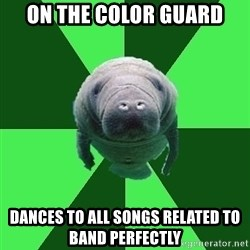 Marching Band Manatee - On the Color Guard Dances to all songs related to band perfectly