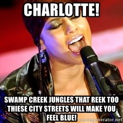 Alicia Keys Sings - Charlotte! Swamp creek jungles that reek too thiese city streets will make you feel blue!