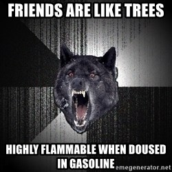 Insanity Wolf - Friends are like Trees  Highly Flammable when doused in gasoline