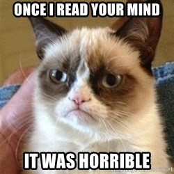 Grumpy Cat  - Once I read your mind it was horrible