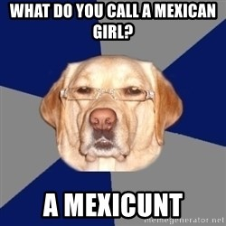 Racist Dog - what do you call a mexican girl? a mexicunt