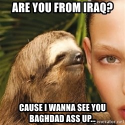 The Rape Sloth - Are you from Iraq?  Cause I wanna see you baghdad ass up...