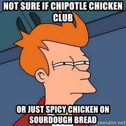 Futurama Fry - not sure if chipotle chicken club or just spicy chicken on sourdough bread