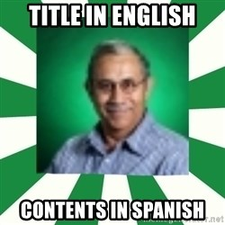 espanol - Title in english contents in spanish