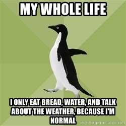 Socially Average Penguin - my whole life i only eat bread, water, and talk about the weather, because i'm normal